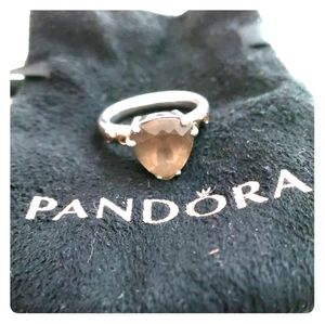 Pandora silver with gold detail- amber stone